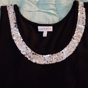 Fashion Bug Tops - FASHION BUG NWOT BLACK WITH SEQUIN ACCENT TANK TOP